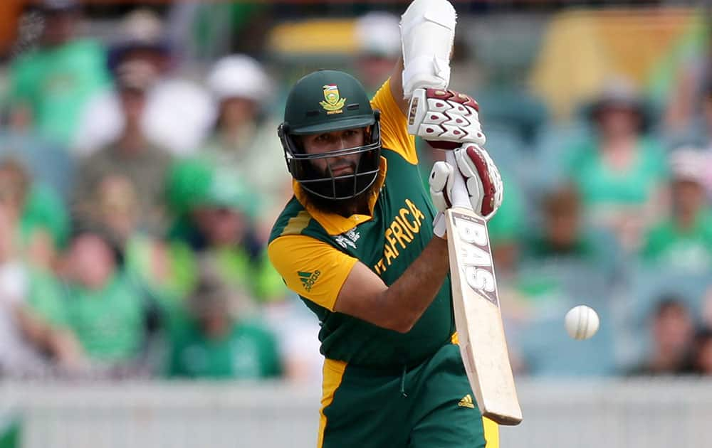 South African batsman Hashim Amla hist the ball during their Cricket World Cup Pool B match against Ireland in Canberra, Australia.
