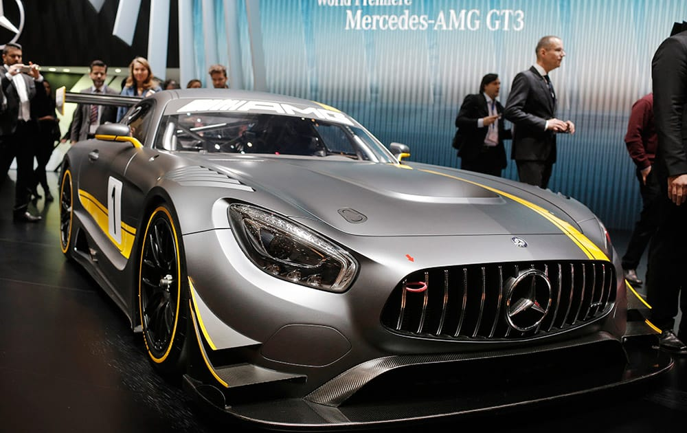 The new Mercedes-AMG GT3 is on display on the first press day of the Geneva International Motor Show in Geneva, Switzerland.