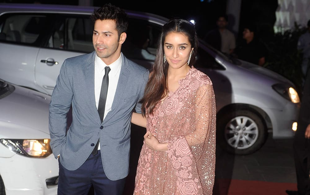 Varun Dhawan and Shraddha Kapoor during the wedding ceremony of Tulsi Kumar and Hitesh in Mumbai. DNA