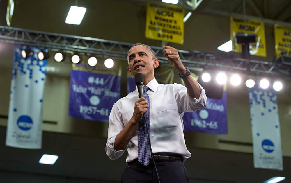 President Barack Obama participates in a town-hall meeting at Benedict College, in Columbia, S.C., about the importance of community involvement.