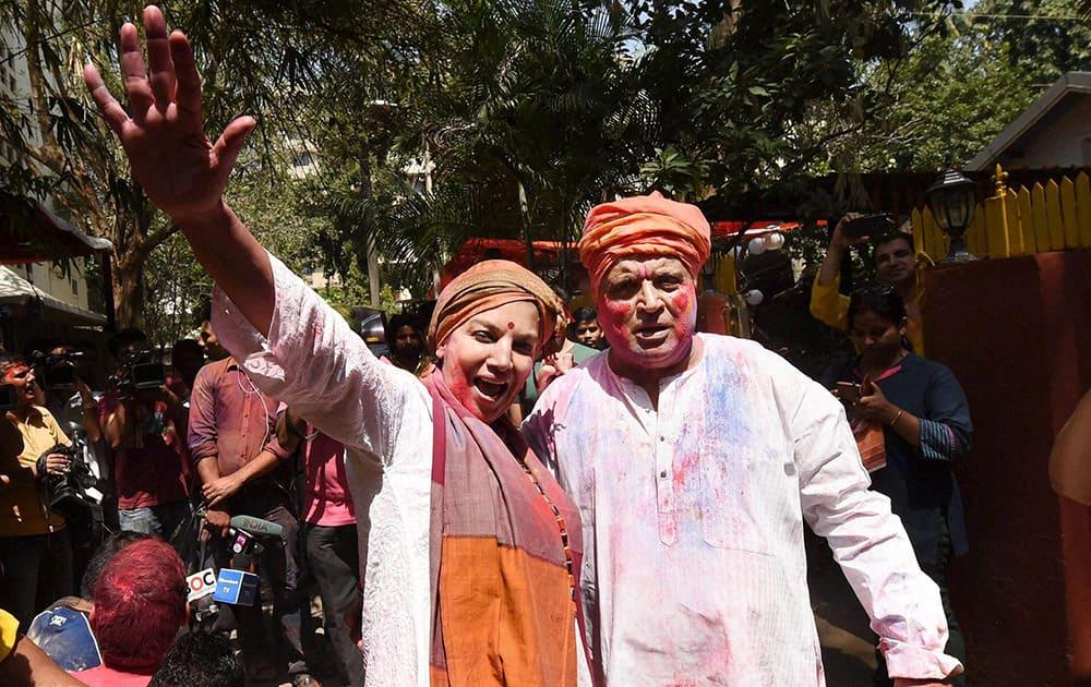 Shabana Azmi and her husband lyricist Javed Akhtar celebrate Holi at their residence in Mumbai.