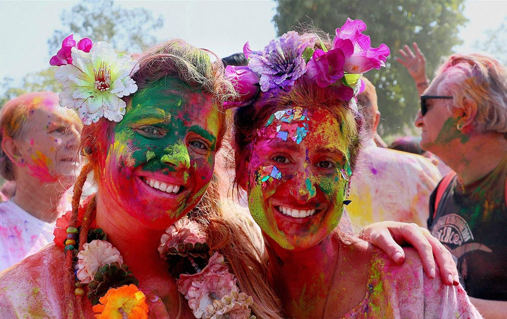 Foreigners celebrate Holi in Jaipur.