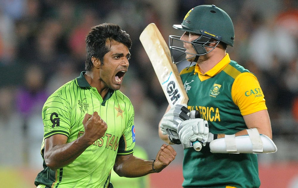 Pakistan bowler Rahat Ali celebrates after taking the wicket of South Africa's Kyle Abbott during their Cricket World Cup Pool B match in Auckland, New Zealand.