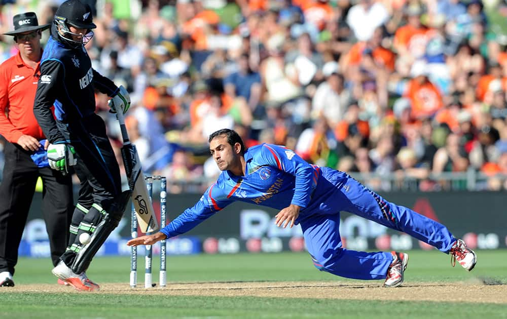 Afghanistan's Samiullah Shenwari dives to take the ball as New Zealand batsman Martin Guptill moves out of the way during their Cricket World Cup Pool A match in Napier, New Zealand.