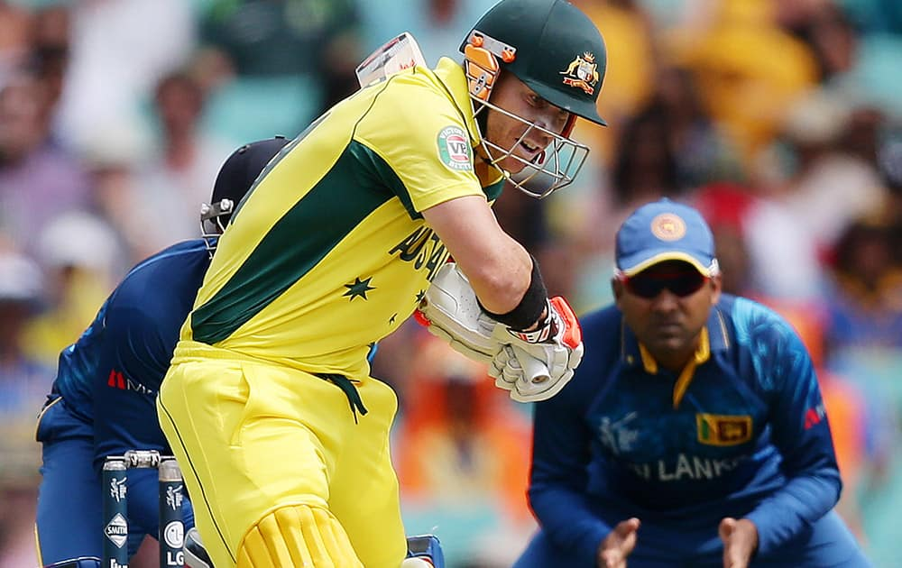 Australian batsman David Warner looks to play a shot during their Cricket World Cup Pool A match against Sri Lanka in Sydney, Australia.