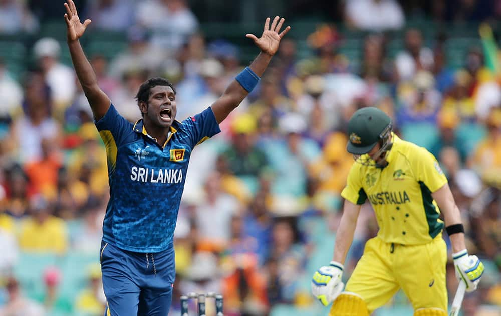 Sri Lanka's Angelo Mathews appeals unsuccessfully for the wicket of Australia's Steve Smith during their Cricket World Cup Pool A match in Sydney, Australia.