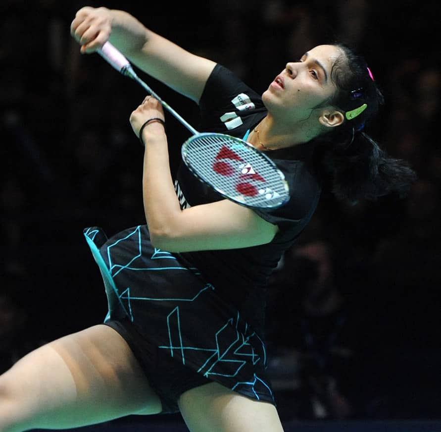 India's Saina Nehwal plays a shot during the Women's Singles semifinal, against China's Sun Yu at the All England Badminton Championships in Birmingham, England.