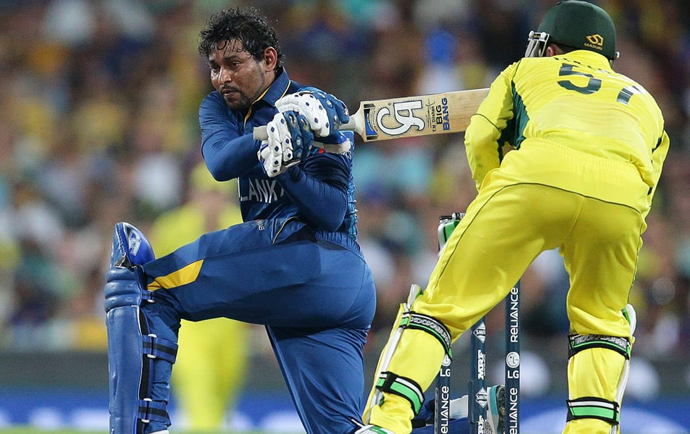 Sri Lanka's Tillekaratne Dilshan bats during their Cricket World Cup Pool A match against Australia in Sydney, Australia.