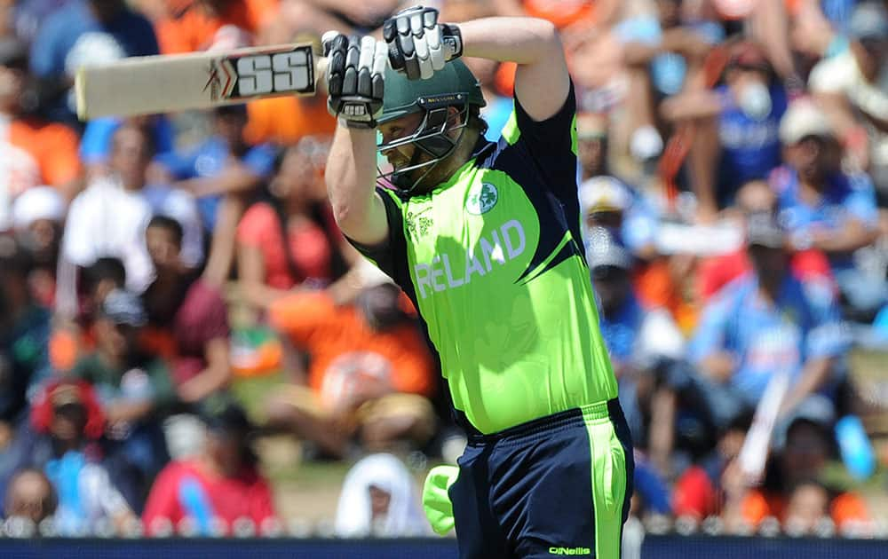 Ireland's Paul Stirling plays a shot while batting against India during their Cricket World Cup Pool B match in Hamilton, New Zealand.