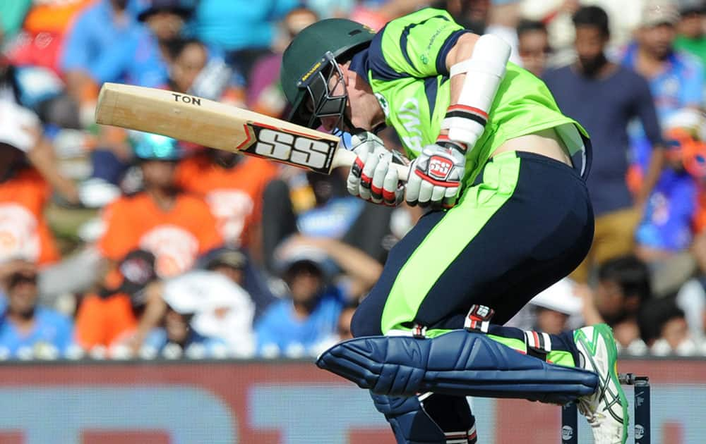 Ireland's George Dockrell avoid's a ball while batting against India during their Cricket World Cup Pool B match in Hamilton, New Zealand.
