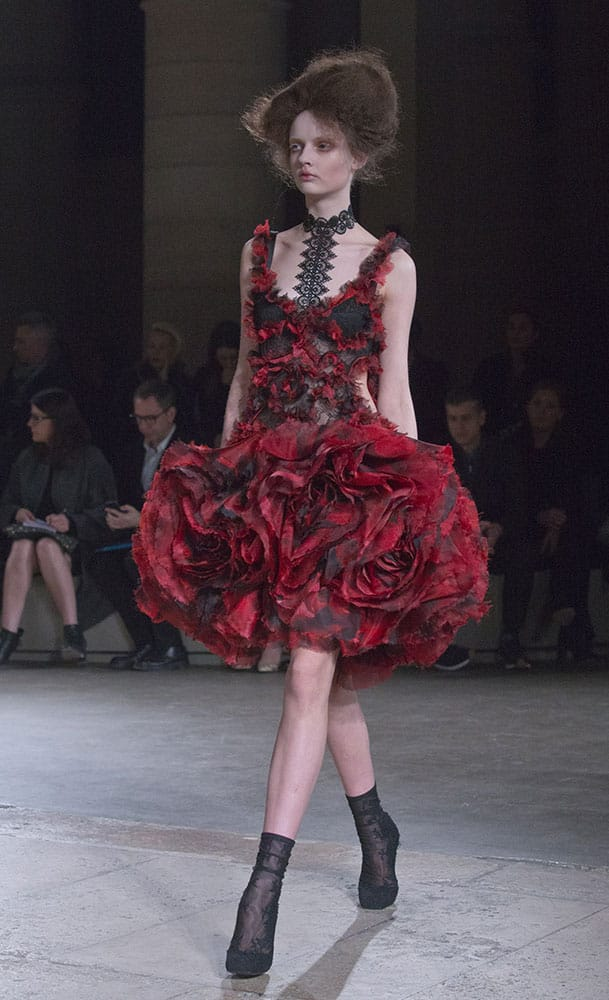 A model wears a creation as part of Alexander McQueen's ready-to-wear fall-winter 2015-2016 fashion collection presented during the Paris fashion week.