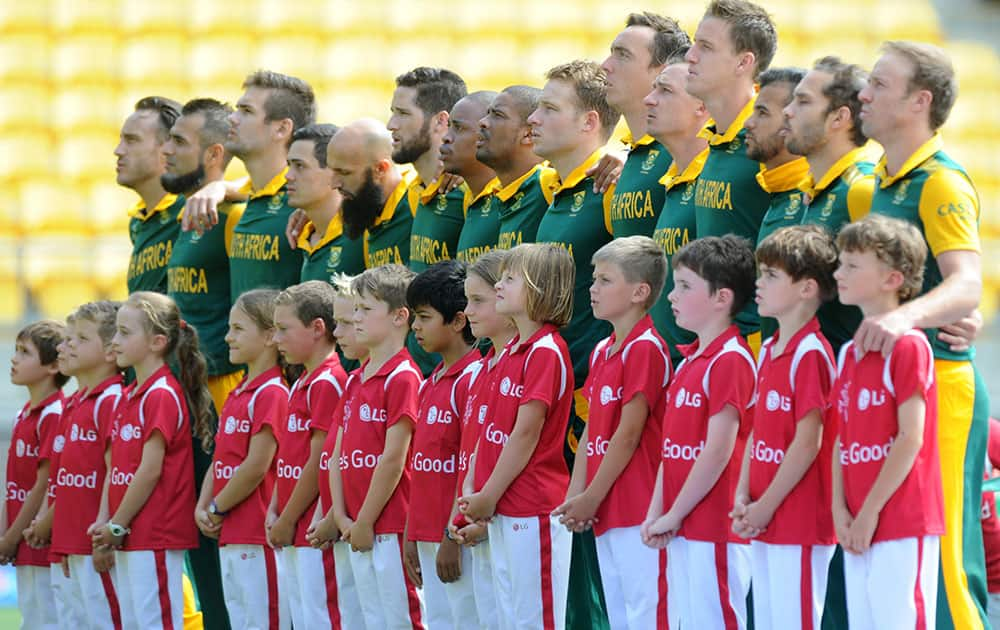 The South African team line up ahead of their Cricket World Cup Pool B match against the United Arab Emirates in Wellington, New Zealand.