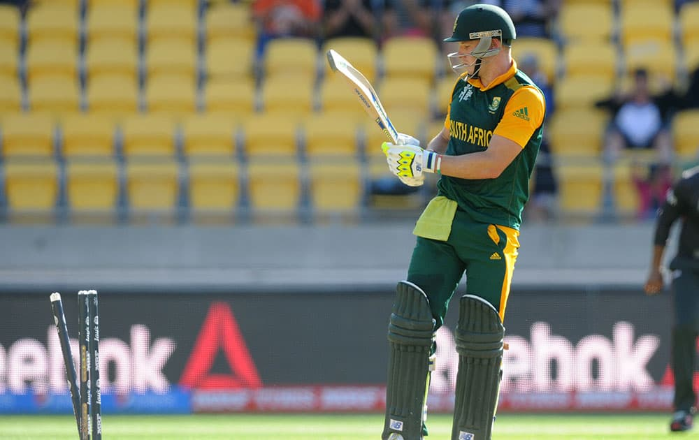South Africa's David Miller looks back at his stumps after he was bowled by United Arab Emirates bowler Muhammad Naveed for 49 runs during their Cricket World Cup Pool B match in Wellington, New Zealand.