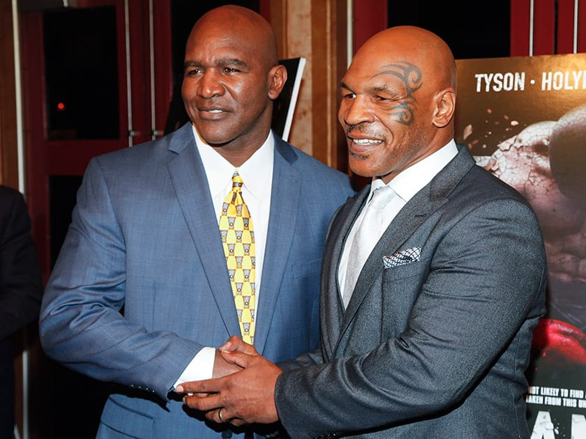 Evander Holyfield and Mike Tyson, attend a special screening of 'Champs' at the Village East Cinema, in New York.