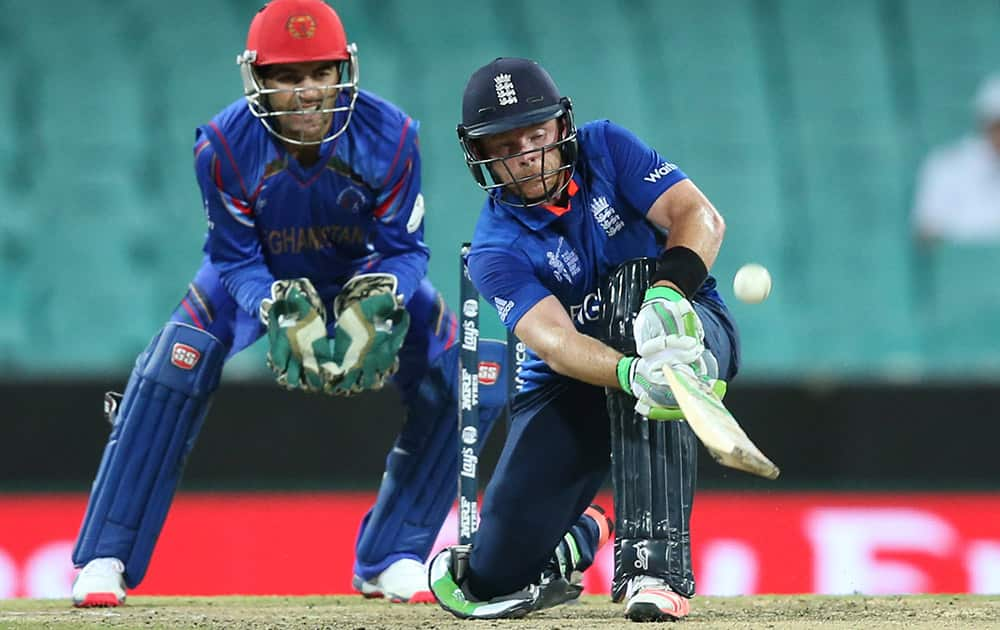 England's Ian Bell plays a shot during their Cricket World Cup pool A match against Afghanistan in Sydney, Australia.