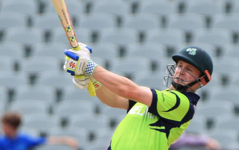 Ireland's captain William Porterfield bats during their Cricket World Cup Pool B match against Pakistan in Adelaide, Australia.