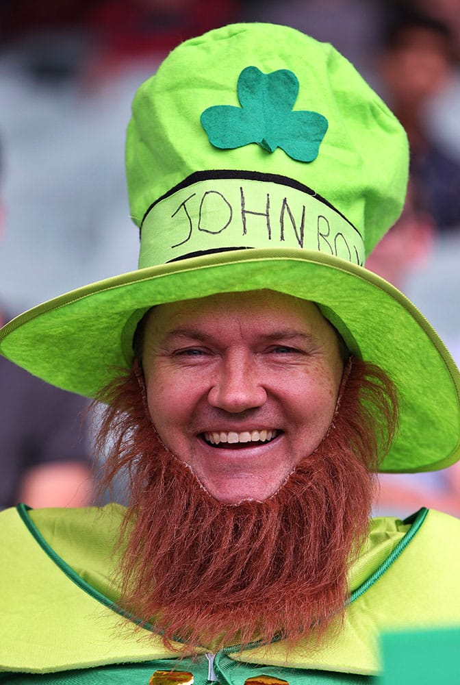 AN IRELAND FAN CHEERS DURING THEIR CRICKET WORLD CUP POOL B MATCH AGAINST PAKISTAN IN ADELAIDE, AUSTRALIA.
