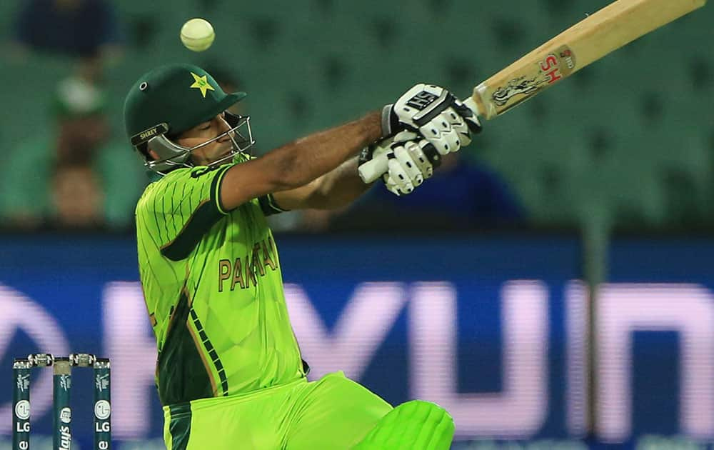 Pakistan's Sarfraz Ahmed, bats during their Cricket World Cup Pool B match against Ireland in Adelaide, Australia.