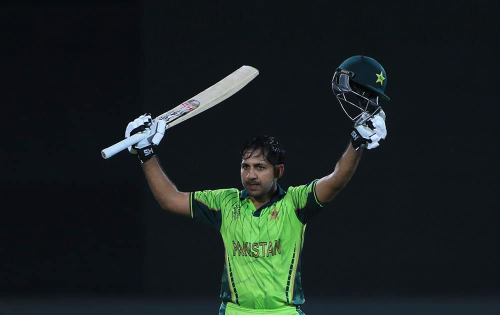 Pakistan's Sarfraz Ahmed, celebrates his hundred runs during their Cricket World Cup Pool B match against Ireland in Adelaide, Australia.