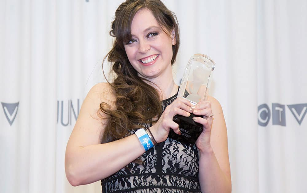 Art director, designer, illustrator Roberta Hansen backstage after receiving the Juno for Recording Package of the Year during the JUNO Gala Dinner and Awards in Hamilton.