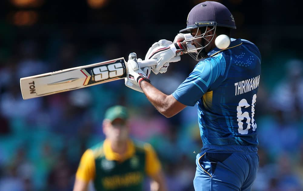 Sri Lanka's Lahiru Thirimanne plays at the ball while batting against South Africa during their Cricket World Cup quarterfinal match in Sydney, Australia.