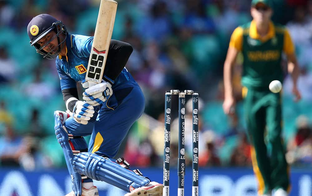 Sri Lanka's Kumar Sangakkara watches the ball pass while batting during their Cricket World Cup quarterfinal match against South Africa in Sydney, Australia.