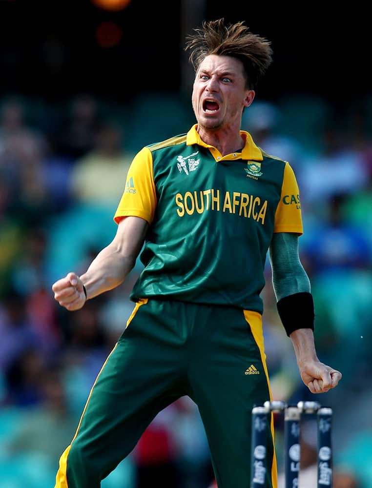 South African bowler Dale Steyn celebrates after taking the wicket of Sri Lanka's Tillakaratne Dilshan during their Cricket World Cup quarterfinal match in Sydney, Australia.
