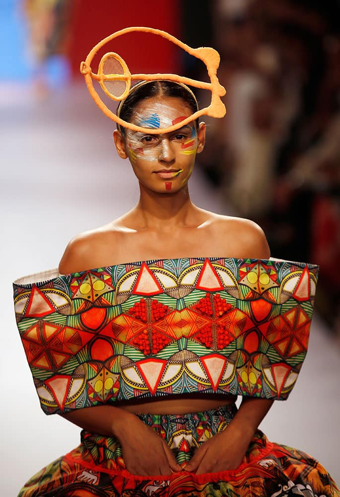 A model walks the ramp during the INIFD Gen Next Show at the Lakme Fashion Week Summer Resort 2015 in Mumbai.