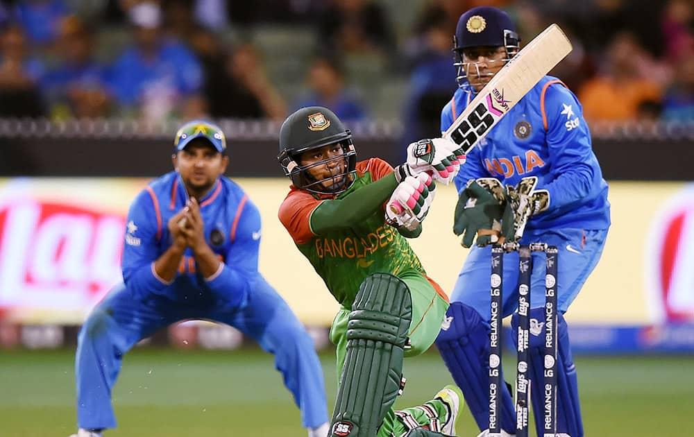 Bangladesh's Mushfiqur Rahim plays a shot during their Cricket World Cup quarterfinal match against India in Melbourne.