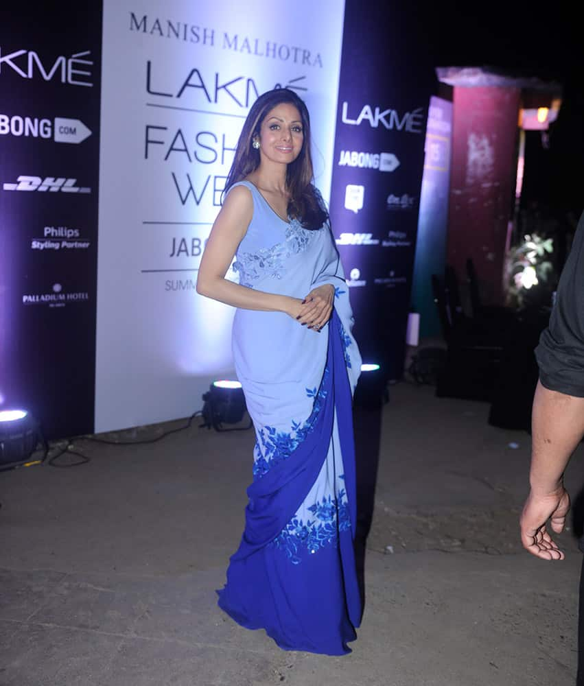 Bollywood actor Sridevi during the Lakme Fashion Week Summer Resort 2015 in Mumbai. dna