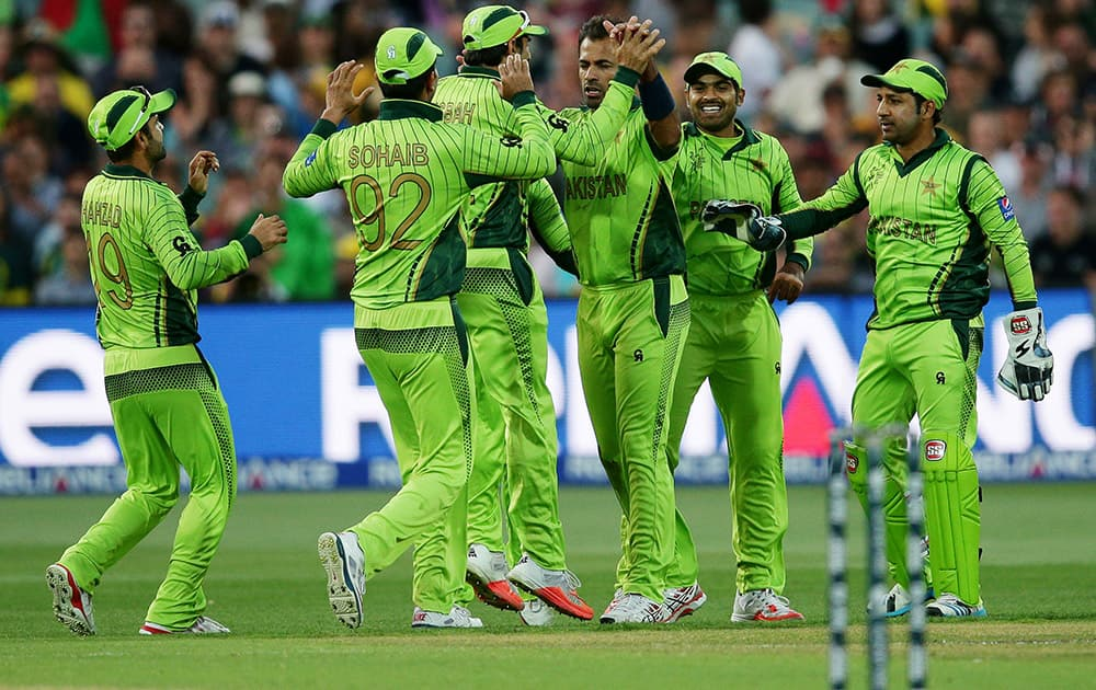 Pakistan player's celebrate the dismissal of Australia's Michael Clarke during their Cricket World Cup quarterfinal match in Adelaide, Australia.