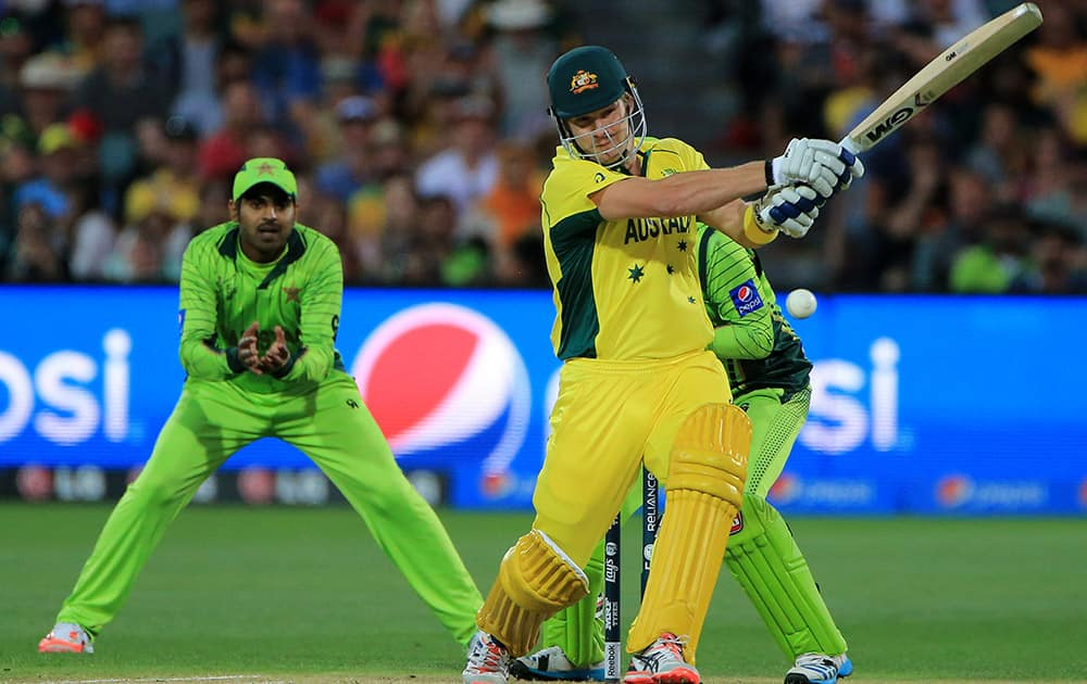 Australia's Shane Watson plays a shot while batting against Pakistan during their Cricket World Cup quarterfinal match in Adelaide.