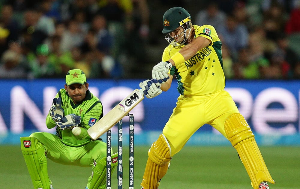 Australia's Shane Watson hits the ball while batting against Pakistan during their Cricket World Cup quarterfinal match in Adelaide, Australia.