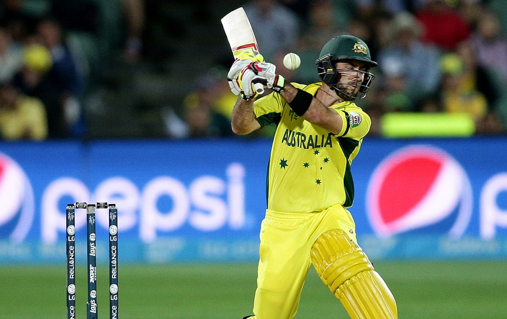 Australia's Glenn Maxwell swings at the ball while batting against Pakistan during their Cricket World Cup quarterfinal match in Adelaide, Australia.