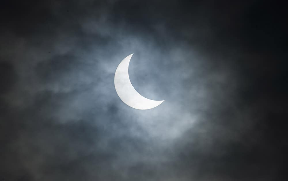 The solar eclipse as it appeared over the isle of Moen in Southeast Denmark.