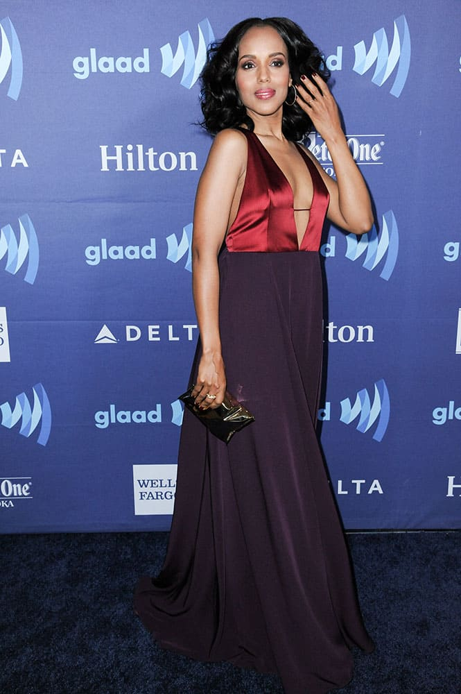 Kerry Washington arrives at the 26th Annual GLAAD Media Awards held at the Beverly Hilton Hotel, in Beverly Hills, Calif.