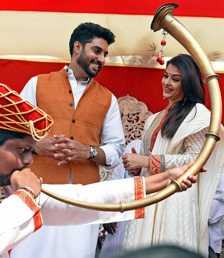 Bollywood actor Abhishek Bachchan and Aishwarya Rai Bachchan take part in a Gudi Padwa celebrations in Mumbai.