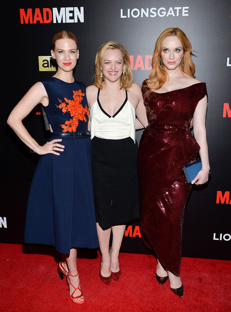 Actresses January Jones, lElisabeth Moss and Christina Hendricks, from left, attend a screening of AMC's