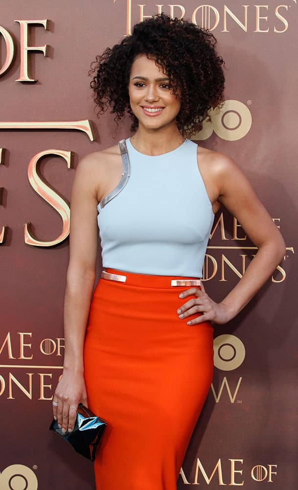 Nathalie Emmanuel poses at the Season 5 premier of