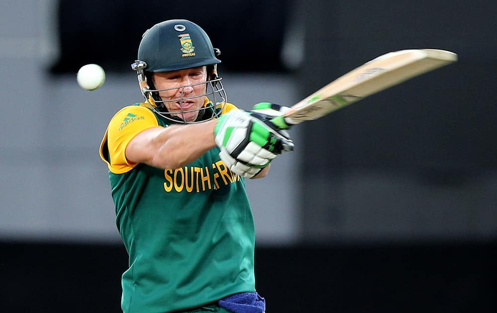 South Africa's AB de Villiers plays at the ball while batting against New Zealand during their Cricket World Cup semifinal in Auckland, New Zealand.