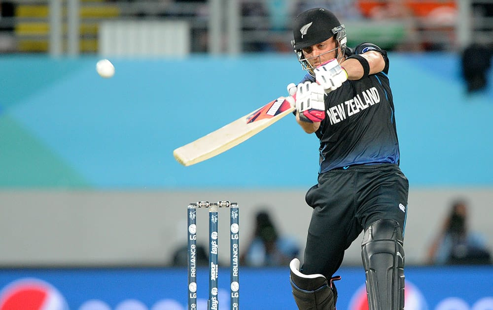 New Zealand's Brendon McCullum hits the ball for six runs while batting against South Africa during their Cricket World Cup semifinal in Auckland, New Zealand.