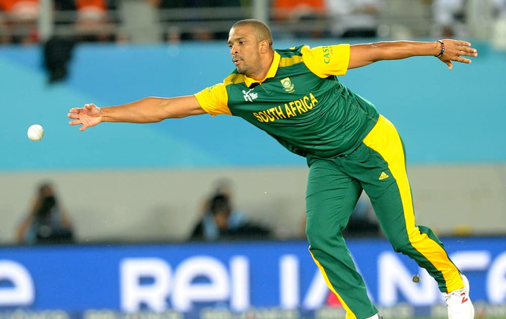 South Africa's Vernon Philander reaches out to field the ball during their Cricket World Cup semifinal against New Zealand.