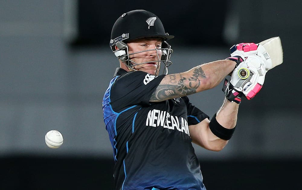 New Zealand's Brendon McCullum plays a shot while batting against South Africa during their Cricket World Cup semifinal in Auckland, New Zealand.