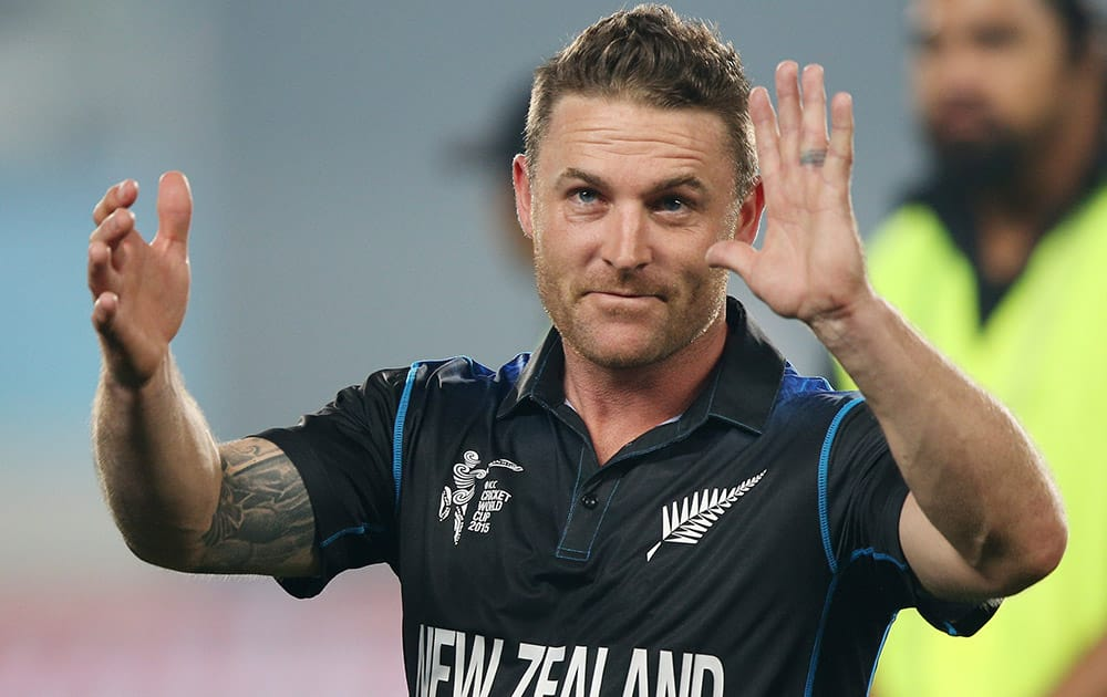New Zealand captain Brendon McCullum wave sot the crowd following their four wicket win over South Africa in their Cricket World Cup semifinal in Auckland, New Zealand.
