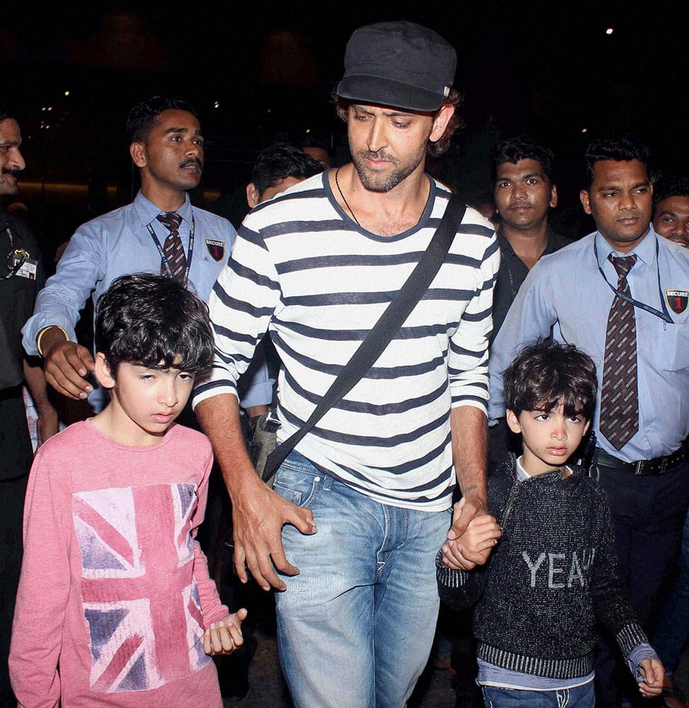 Bollywood actor Hritik Roshan along with his sons Hrehaan and Hridhaan spotted at the airport in Mumbai.