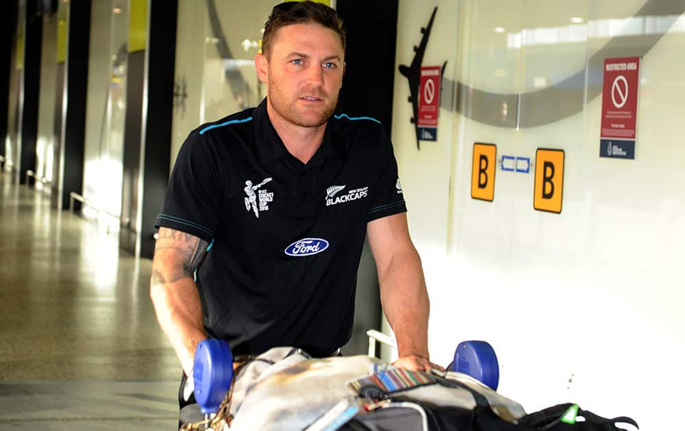 New Zealand cricket captain Brendon McCullum arrives in Melbourne, Australia. New Zealand will play in the Cricket World Cup final in Melbourne on Sunday.
