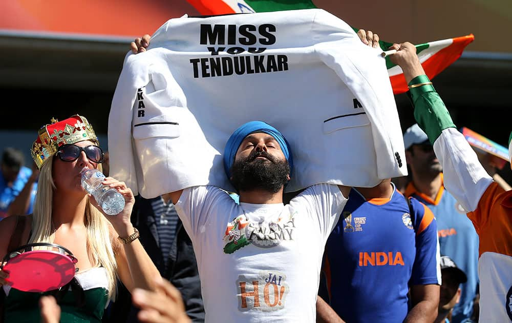 Indian supporter's wait for the start of their Cricket World Cup semifinal against Australia in Sydney, Australia