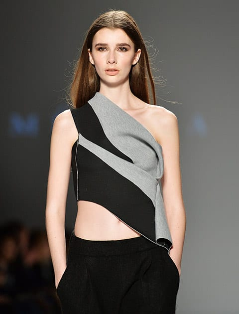 A model walks the runway for the Melissa Nepton Fall 2015 collection during Toronto fashion week in Toronto.