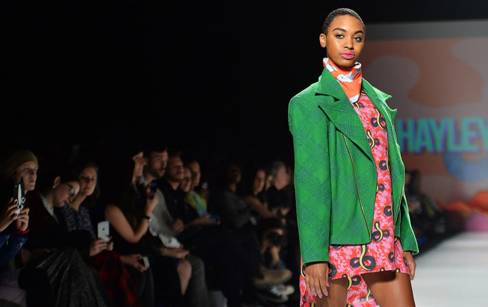 A model walks the runway for the Hayley Elsaesser collection during Toronto fashion week in Toronto