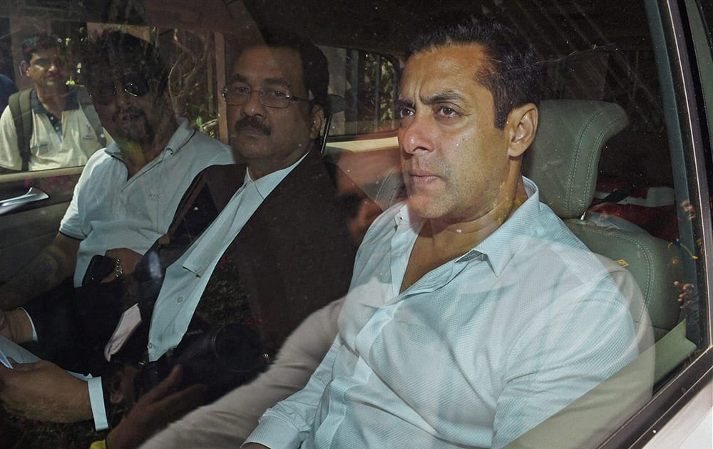 Salman Khan at the Sessions Court in Mumbai on Friday in connection with the 2002 hit and run case.